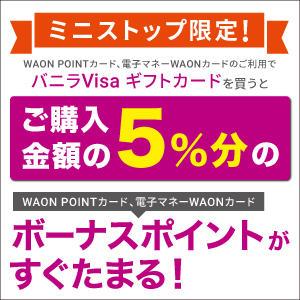 WAONでバニラVisaギフトカードを買うと5%分ボーナスポイントプレゼント!