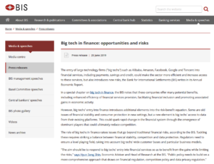 BIS:Big tech in finance: opportunities and risks