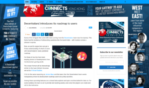 BLOCKCHAINGAMER.BIZ:Decentraland introduces its roadmap to users
