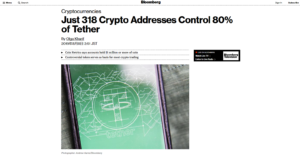 Bloomberg:Just 318 Crypto Addresses Control 80% of Tether