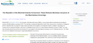 Business Wire:The Republic of the Marshall Islands Announces Timed Release Monetary Issuance of the Marshallese Sovereign