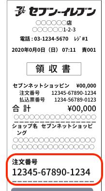 セブンネットショッピング注文番号の例(イメージ)