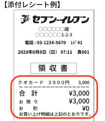 QUOカード購入時のレシート例(イメージ)