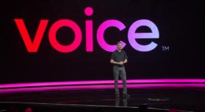 VOICEについて壇上から語るダニエル・ラリマーCTO