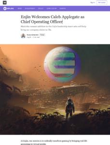 Enjin:Enjin Welcomes Caleb Applegate as Chief Operating Officer