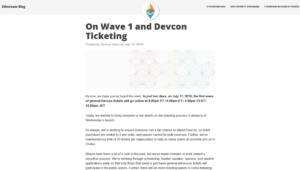 Ethereum Foundation Blog:On Wave 1 and Devcon Ticketing