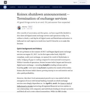 Koinex Medium:Koinex shutdown announcement—Termination of exchange services