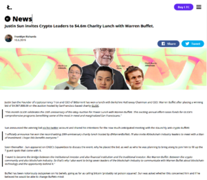 Litecoin.com NewsJustin Sun invites Crypto Leaders to $4.6m Charity Lunch with Warren Buffet.
