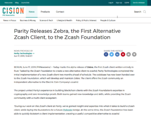News Releases:Parity Releases Zebra, the First Alternative Zcash Client, to the Zcash Foundation