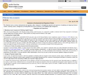 RBI PRESS RELEASES:Statement on Developmental and Regulatory Policies