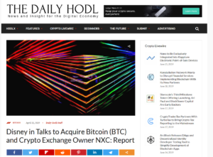 THE DAYLY HODL:Disney in Talks to Acquire Bitcoin (BTC) and Crypto Exchange Owner NXC: Report