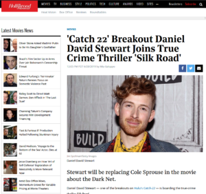 THE Hollywood REPORTER:'Catch 22' Breakout Daniel David Stewart Joins True Crime Thriller 'Silk Road'