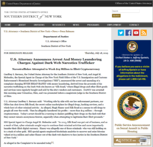 U.S. Attorneys Southern District of New York News:U.S. Attorney Announces Arrest And Money Laundering Charges Against Dark Web Narcotics Trafficker