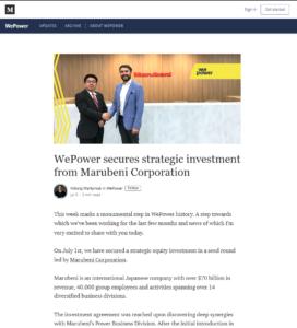 WePower Medium:WePower secures strategic investment from Marubeni Corporation