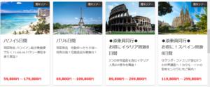 50000円以上の海外ツアーの一例