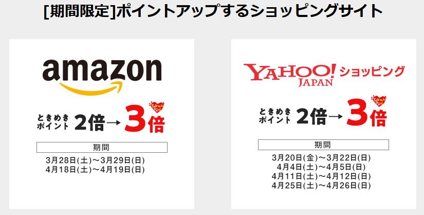 アマゾンとヤフージャパンのポイントアップ期間