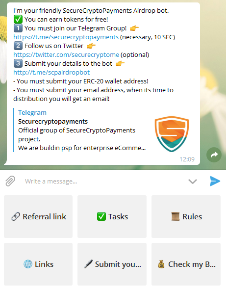 SecureCryptoPaymentエアドロップ参加項目