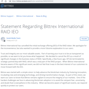 Bittrex International RAID IEOに関する声明