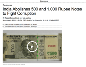 Bloomberg:India Abolishes 500 and 1,000 Rupee Notes to Fight Corruption