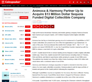 Coinspeaker PRESS RELESE:Animoca & Harmony Partner Up to Acquire $13 Million Dollar Sequoia Funded Digital Collectible Company