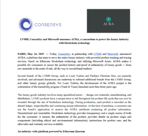 ConsenSys Press: LVMH, ConsenSys and Microsoft announce AURA, a consortium to power the luxury industry with blockchain technology
