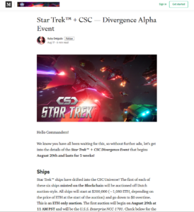 CSC Medium:Star Trek™ + CSC — Divergence Alpha Event