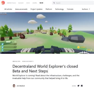 Decentraland blog:Decentraland World Explorer's closed Beta and Next Steps