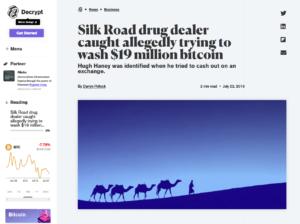 Decrypt:Silk Road drug dealer caught allegedly trying to wash $19 million bitcoin
