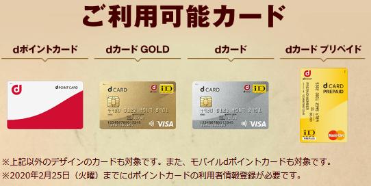 対象のdポイントカード例(イメージ)