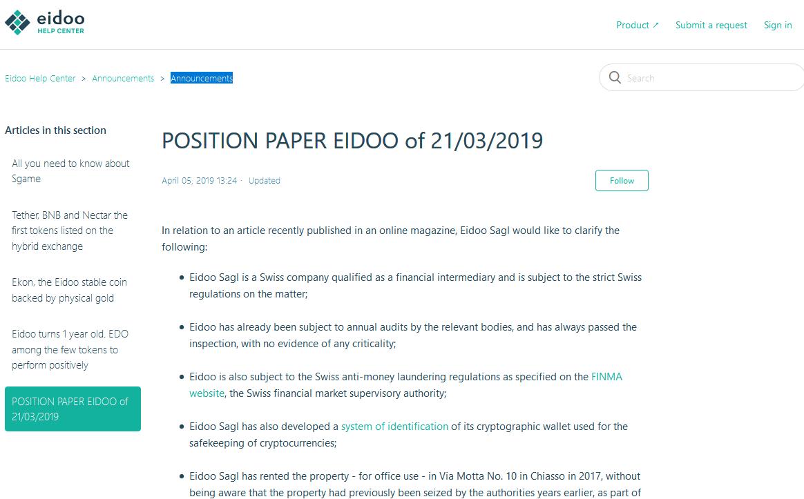 eidoo postionpaper