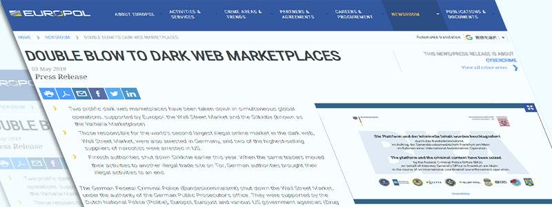 世界第二位のダークウェブマーケットを含む2つの違法マーケットが摘発され閉鎖