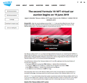 Animoca Brands:The second Formula 1® NFT virtual car auction begins on 19 June 2019