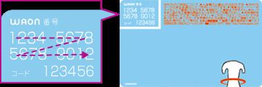 WAONカードのWAON番号例(イメージ)