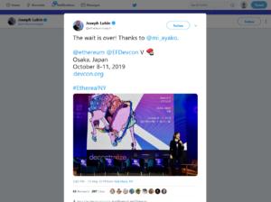 次回開催地が大阪と伝えるジョゼフ・ルービン氏のツィート
