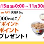 松屋フーズ、au PAY決済すると抽選で100円分のau WALLET ポイントが当たる