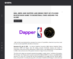 NBPA:NBA, NBPA AND DAPPER LABS BRING FIRST-OF-ITS-KIND BLOCKCHAIN GAME TO BASKETBALL FANS AROUND THE GLOBE