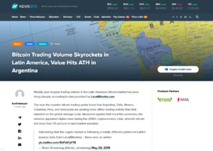 NEWSBTC:Bitcoin Trading Volume Skyrockets in Latin America, Value Hits ATH in Argentina