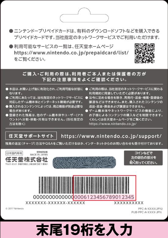ニンテンドープリペイドカード裏面(イメージ)