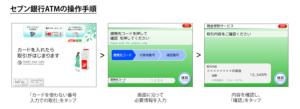 セブン銀行ATM側の操作手順(「セブン銀行ATMから出金すると、200円もらえる。 ~秋の始まりの200円キャンペーン~」より)