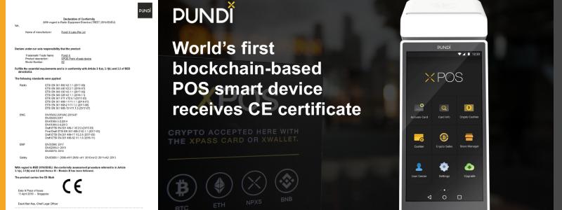 Pundi XのXPOS、CE検査に合格した世界初のブロックチェーンPOS機器に