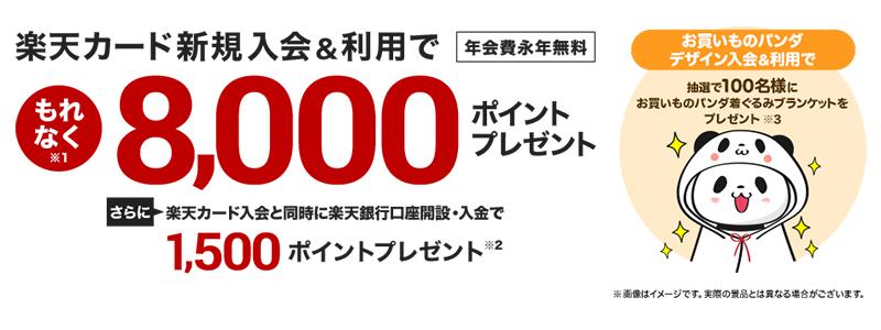 楽天カード、新規入会&利用でもれなく8,000ポイントもらえるキャンペーン開催中