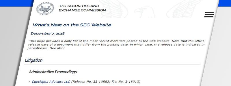 米国証券取引委員会(SEC)が仮想通貨ファンドに罰金5万ドルと業務停止命令