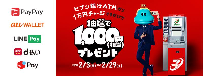 セブン銀行はATMからPayPayやd払いなどに1万円チャージすると抽選で1000円プレゼントするキャンペーン開催