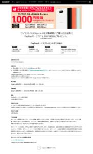Sony:XPERIA 8のPayPayポイントキャンペーン