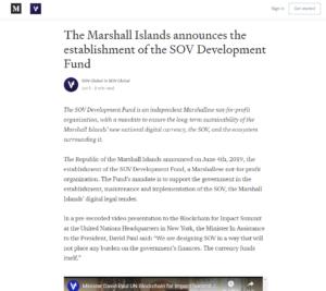 SOV Medium:The Marshall Islands announces the establishment of the SOV Development Fund