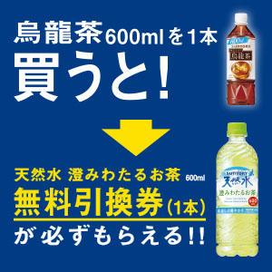 サントリー烏龍茶600ml1本購入で天然水澄みわたるお茶無料券プレゼント!