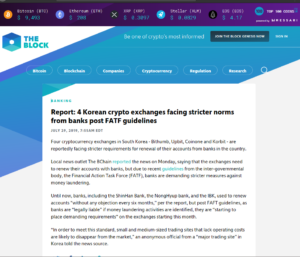 THE BLOCK Banking:Report: 4 Korean crypto exchanges facing stricter norms from banks post FATF guidelines