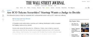 Kinを巡るSECとの攻防を伝えるTHE WALL STREET JOURNALの記事