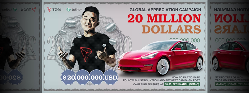 TRONのジャスティン・サン氏が22億円のエアドロップを発表