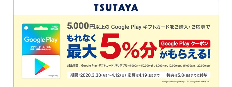 TSUTAYA(ツタヤ) 「Google Playギフトカード」五千円以上購入で、最大5%分還元中